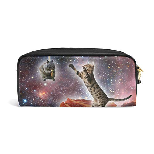Katze Maus Speck Galaxy Stifteetui für Teenager Tasche Stift Tasche Reißverschluss Junge Mädchen Frauen College Schule Schreiben Zubehör Leder PU mit Fächern -