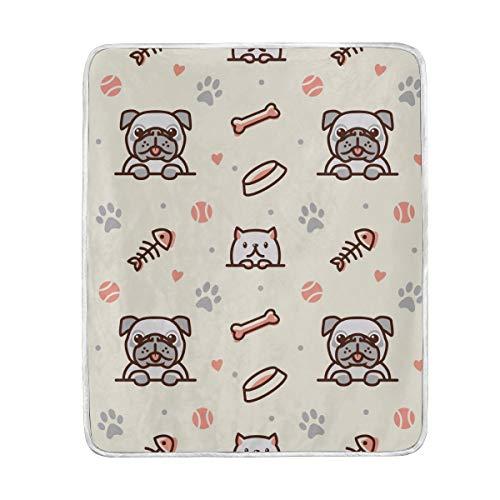 Bali Überwurfdecke für Hunde und Katzen, weich, warm, für Bett, Sofa, Couch, Reisen, 127 x 153 cm -