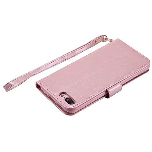 EKINHUI Case Cover Horrizontal Folio Stand PU Leder + TPU Tasche, Geldbörse Geldbörse Abdeckung Fall mit Lumious Shining Effekt & Lanyard für iPhone 7 Plus ( Color : Pink ) Rose-gold
