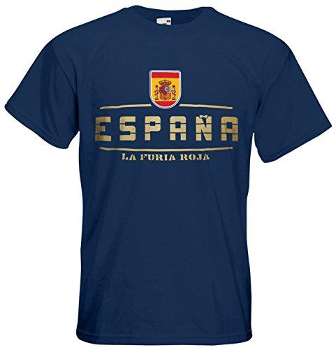 Spanien Espana Fanshirt T-Shirt Länder-Shirt im modernen Look Navyblau