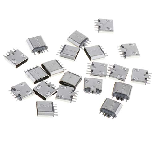 Almencla 20pcs Micro USB Buchse (Einbaubuchse, Ladebuchse Anschluss, Mini) 5 Pin Charging Port Usb-telefon-jack
