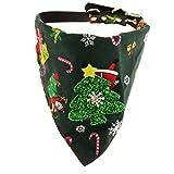 perfk Weihnachten Hunde Dreieckstuch Hunde Dreieck Halstuch mit Halsband für Hund und Katze - Grün Baum
