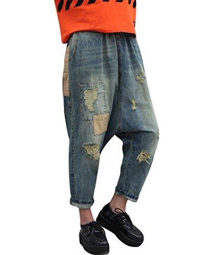 Youlee Frauen Sommer Patchwork Haremshose Zerstört Jeans Wide Leg Jeans Blau (Blaue Jeans-patchwork)