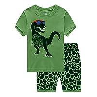 MIXIDON Boys Short Pyjamas Sets Kids Digger Pjs for Boy Short Sleeved Nightwear Sleepwear Summer 2 Pieces Outfits Age 1-10 Years Green