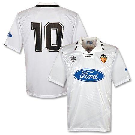 97-98 Valencia camiseta + no 10 Blanco blanco Talla:extra-large
