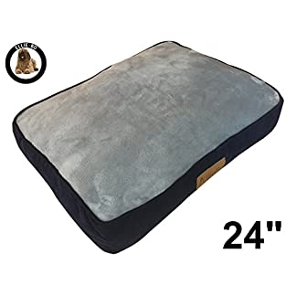 """Ellie-Bo Small 56cms x 41cms Dog Bed Blue Corduroy Sides and Grey Faux Fur Topping will fit 24"""" Small Dog Cage or Crate 20"""