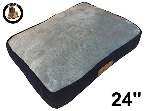 """Ellie-Bo Small 56cms x 41cms Dog Bed Blue Corduroy Sides and Grey Faux Fur Topping will fit 24"""" Small Dog Cage or Crate 1"""