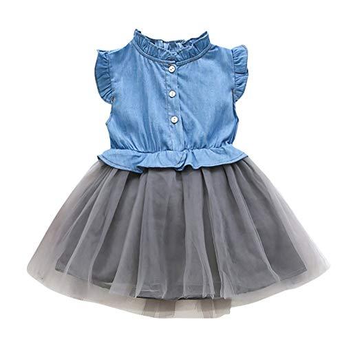 , Kleinkind Baby Mädchen Denim Kleid ärmellose Prinzessin Tutu Tüll Kleid Cowboy Kleidung für 0-7 Jahre alt ()