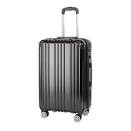 COOLIFE Hartschalen-Koffer Rollkoffer Reisekoffer Vergrößerbares Gepäck (Nur Großer Koffer Erweiterbar) PC+ABS Material mit TSA-Schloss und 4 Rollen (Schwarz, Großer Koffer)