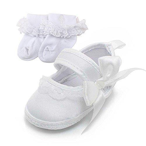 DELEBAO Babyschuhe Baby Mädchen Weiche Sohle Weiß Taufschuhe Babys Schuhe für Kleinkinder (Schuhe&Socken,0-6 Monate) -