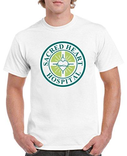 Comedy Shirts - Sacred Heart Hospital -Scrubs - Herren T-Shirt - Weiss / Türkis-Hellgrün Gr. M