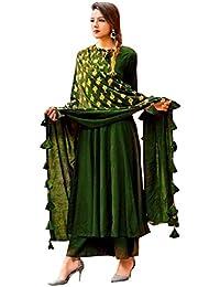 Peachmode Women's Pachmode Women's Green Colored Partywear Rayon Kurti