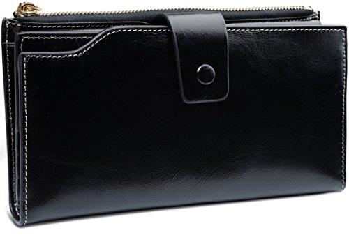 VANCOO Große Kapazität Luxus Wax Frauen-echtes Leder-Geldbörse mit Reißverschluss-Tasche (hochgradigem-Paket) (Black) (Neue Geldbörse Damen)