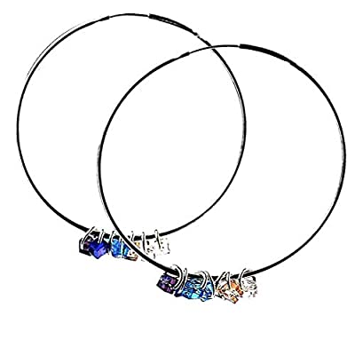 Boucles d'oreilles Créoles en Argent Sterling 925 de 45 mm Avec Cristaux Autrichiens Bleus Jaunes Violets