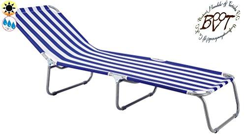 Liege, stabile Gartenliege, klappbare Sonnenliege - blau-weiss, Saunaliege, tragbar, Strandliege, hochwertig bequem und stabil, Sonnenschutz, Dreibeinliege faltbar, verstellbare Klappliege, anthrazit-metallic silber, Strandliegen, Sonnenliegen, Liegestühle, Gartenstühle, Picknickliegen, Gartenmöbel Holz, Feldbetten