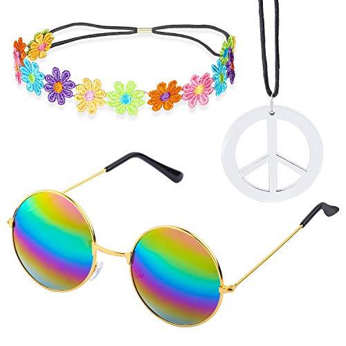 Beelittle Hippie Kostüm Set - 60er Jahre Retro Vintage Brille Friedenszeichen Halskette Sonnenblume Krone Haarband 60er Jahre Hippie Dressing Zubehörset (C) (60er Jahre Kostüme)