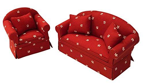 Inusitus 2er Set Neues Puppenhaus Sofa und Sessel | Miniatur Möbel Couch Set| Puppen Spielzeug | 1/12 Möbel für Kinder (Rot-Sterne)