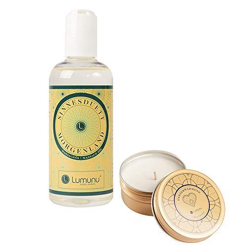 Deluxe Massage-Set aus Massage-Kerze HERZERWÄRMEND (60g) & Massage-Öl MORGENLAND (250ml), für entspannende Massagen