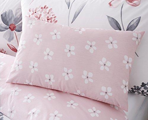 Premium Bettwäsche Bettbezug Auswahl Caroline Pink Floral entworfen 200Fadenzahl Bettwäsche-Set mit Gratis Kissen Fall, Boudoir Cushion