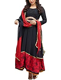 Cloud India Women's Georgette Unstitched Dress Material (Black And Red)