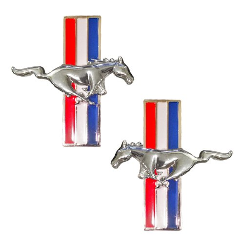 Mustang Running Horse Tri Bar Pony Left and Right Metal Emblems - Pair by Universal Gizmo -
