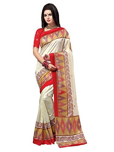 SAREE MALL Patola Silk Saree With Blouse Piece(saree for women 2018 fancy...
