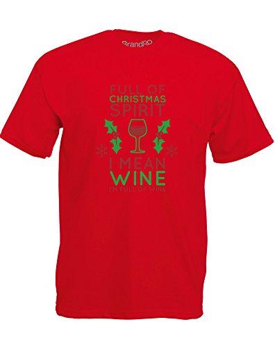 Brand88 - Full of Christmas Spirit, Mann Gedruckt T-Shirt Rote/Grün/Burgundy