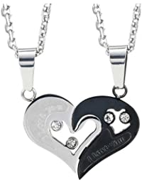 Stunning 2pcs His & Hers Couples Gift Heart Pendant Love Necklace Set For Lover Valentine 19 & 21 Chain