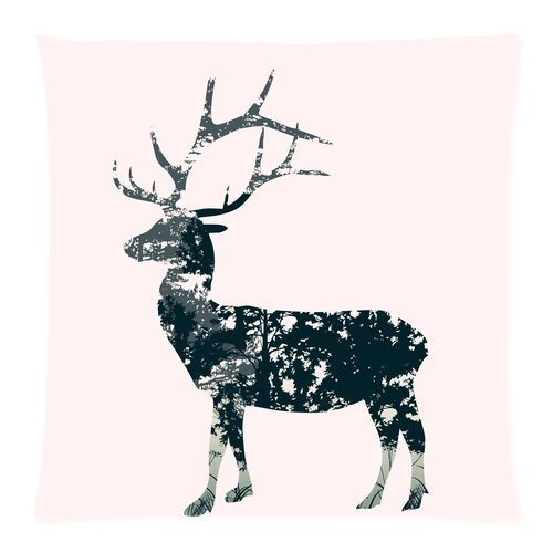 Custom Fashion Deer Head with Antlers Zippered Throw Pillow Cover Cushion Case 18x18 (one side)