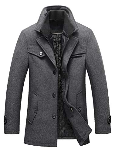 Lavnis Herren Warm Wollmantel Stehkragen Wintermantel Kurzmantel Winter Jacke Business Freizeit Style4 Grey XL
