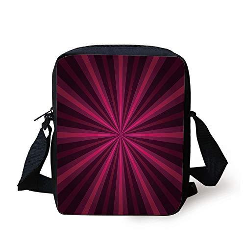 LULABE Hot Pink,Abstract Starburst Design Radial Lines Vibrant Colored Beams Futuristic Decorative,Pink Fuchsia Purple Print Kids Crossbody Messenger Bag Purse -