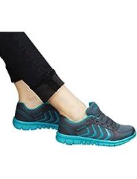 Tefamore Zapatillas de deporte Zapatos deportivos de los planos atléticas ocasionales de la malla respirable del verano de las mujeres