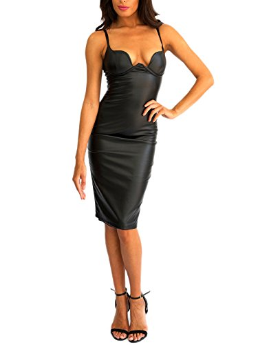 Honour Women s Pencil Dress in Black PVC Longsleeved Outfit with ... bdb55a480