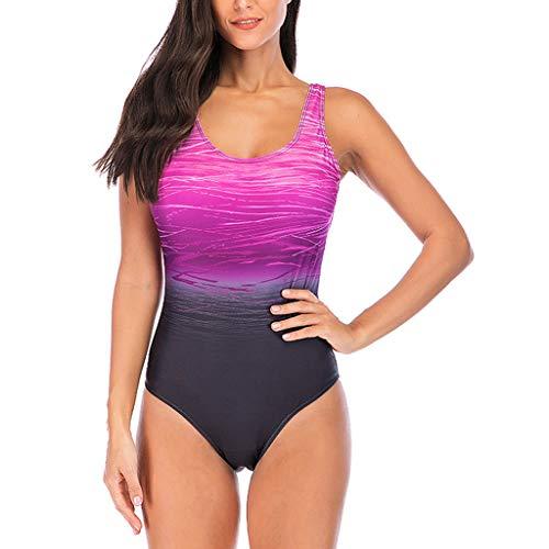 CixNy Tankini Retro Bikini Set Badeanzug mit Gepolstertem Push Up BH Sportliche Swimwear Monokini Bademode Beachwear Mode 2019 Blau Pink Lila Gr.S-XXXL