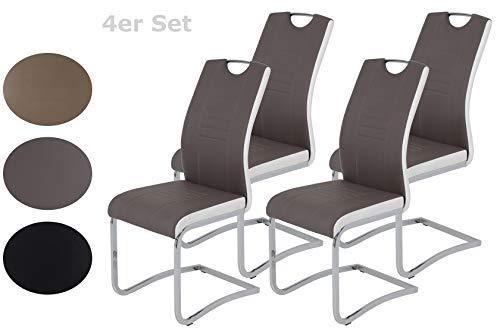 4er Set Schwingstuhl Tabea, Kunstleder Schlamm-Weiß, Griffloch, Metallgestell Chrom, 43 x 61 x 99 cm