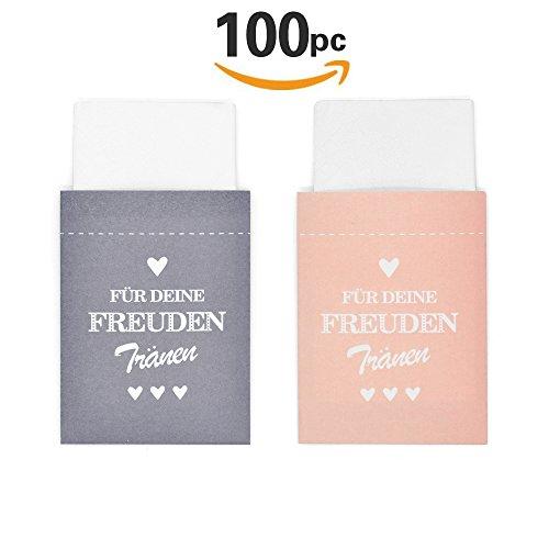 Sinoest 100 Freudentränen Taschentücher Hochzeit Mini Papiertüten Rosa & Grau Taschentuch Geschenktüten Flachbeutel für Hochzeit Taschentücher Mitgebsel Schmuck Umweltfreundlich