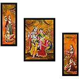 SAF UV Textured Radha Krishna Print Framed Painting (Synthetic, 35 cm x 2 cm x 50 cm, Set of 3, SANFPS7545)