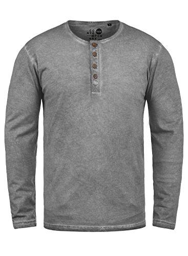 !Solid Timur Herren Longsleeve Langarmshirt mit Grandad- Ausschnitt aus 100% Baumwolle Slim Fit Meliert, Größe:L, Farbe:Mid Grey (2842) Lost-t-shirt Sweatshirt
