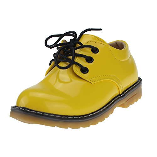 maxu Little Girls Martin Parti sur plat antidérapant Oxford Chaussures Jaune