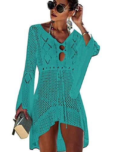 Kfnire Traje de baño de Las Mujeres Bikini Traje de baño Vestido de Playa Crochet (E- Verde)