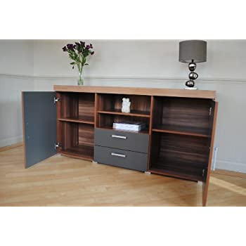 Sydney Graphite & Walnut 2 Metre TV Cabinet & Large Sideboard Unit Living Room Furniture Set