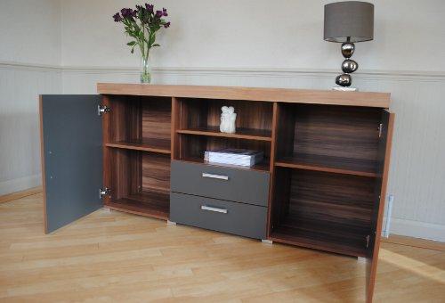 Sydney graphite walnut large sideboard tv cabinet - Walnut effect living room furniture ...