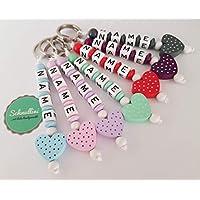 �� Schlüsselanhänger mit Namen Kinder Gravur Kindergartentasche Schultasche Rucksack Herz Schlüsselring mit Name | Mädchen viele Farben Namenskette