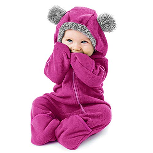 ➤Refill➤Baby Overall mit Kapuze Wollfleece Fleece Strampler Winterjacke Mädchen Jungen Warm Outfits 0-38 Monate Footed Spielanzug Jumpsuit