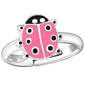 So Chic Schmuck – Pink Ladybird verstellbarer Kinderring Sterling Silber 925
