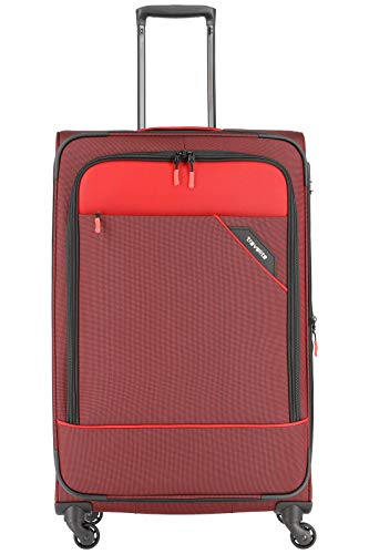 """Travelite Rollkoffer \""""Derby\"""": klassisch, robuster und leichter Weichgepäck Trolley mit 4 Rollen in 4 Farben Koffer, 77 cm, 102 Liter, Rot"""