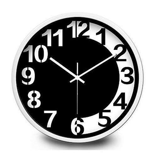 zimmerstudie der arabischen Schwarzweiss-Ziffern stumme Uhr 10-Zoll-Metallweißrahmen ()