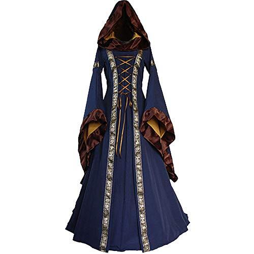 beautyjourney Vestidos Largos de Estilo gótico Vintage, Vestido con Capucha de Rendimiento Medieval renacentista de Mujer Vestidos Maxi con Cordones Vestidos de túnica