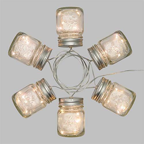 Guirlande à piles 1,5 m, 6 pots en verre Ø 60 x H 80 mm, 30 microled blanc chaud, câble transparent