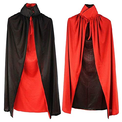 Aelegant Erwachsene/Kinder Halloween Vampir Cape Cosplay Doppelseitig Rot Schwarz Kapuzenumhang Kostüm